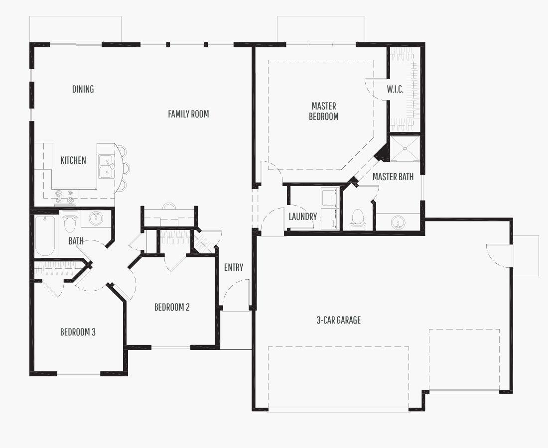 1340 Square Feet   One Story Rambler    3 Bedrooms   3 Bathrooms   3 car garage