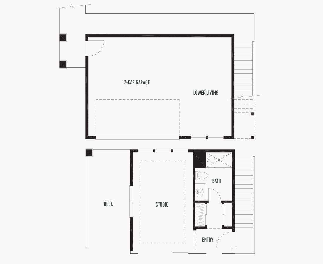 361 Square Feet | ADU/Garage  | 1 Bedroom | 1 Bathroom | 2 + Shop car garage